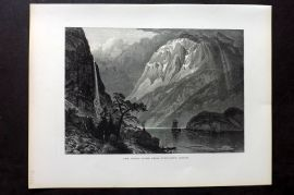 Picturesque Europe 1870s Print. Naero Fjord from Gudvangen (Sogne) Norway